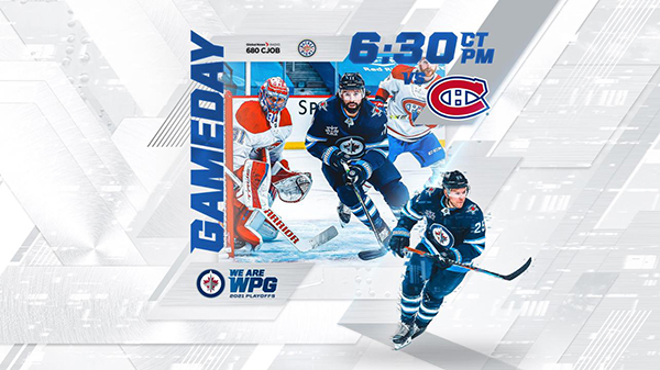 Gameday: Jets vs Canadiens at 6:30 PM CT. WE ARE WPG 2021 Playoffs. Image of Nate Thompson and Paul Stastny