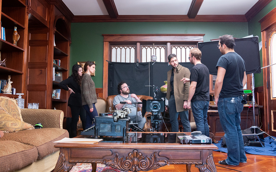 Students setting up a scene