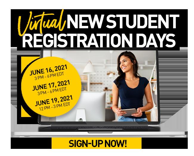 New Student Registration Days - June 16, 17 amd 19, 2021