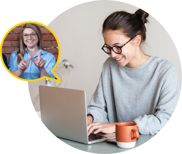 Student talking with a Student Recruiter through video chat