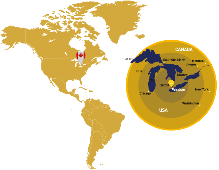 windsor placement on map of canada and its surrounding areas