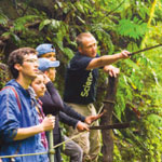 Science students in the rainforest
