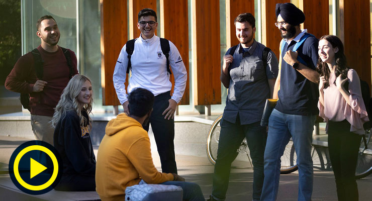 Students on campus outside