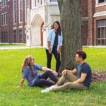 Students enjoying a green university campus